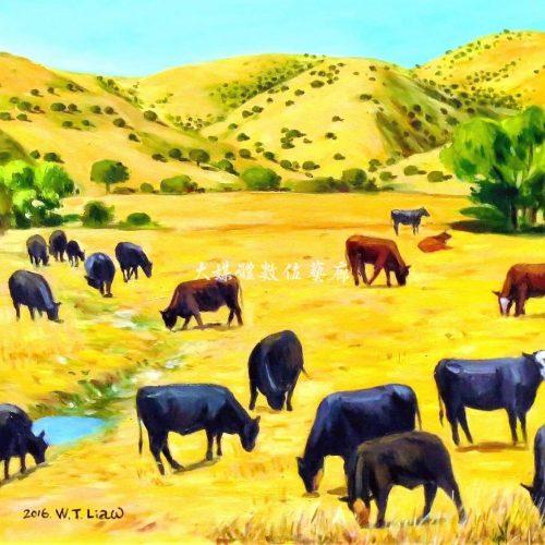 油畫 金黃色草原