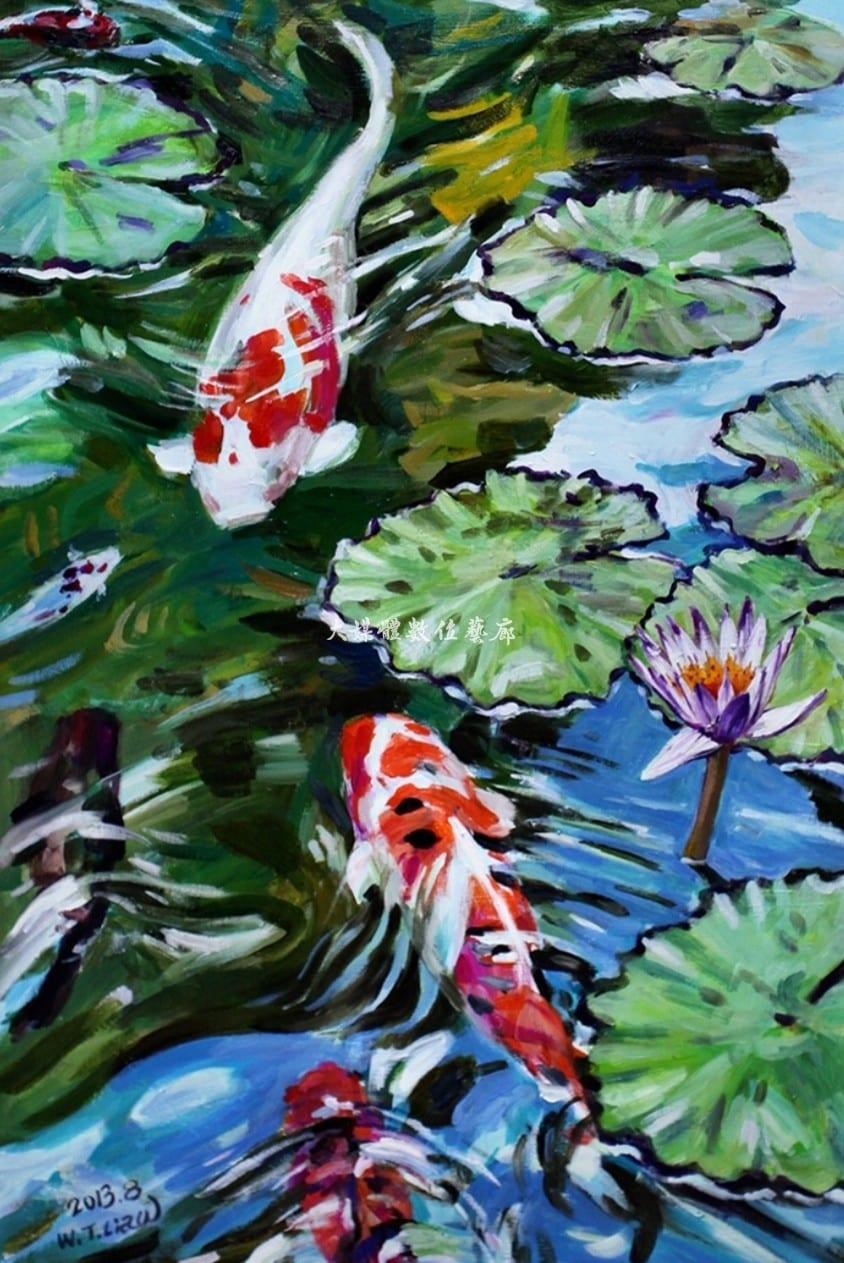 油畫 悠游自在 91公分x60.5公分