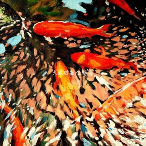 油畫 水光盪漾下的悠游 61公分x76公分