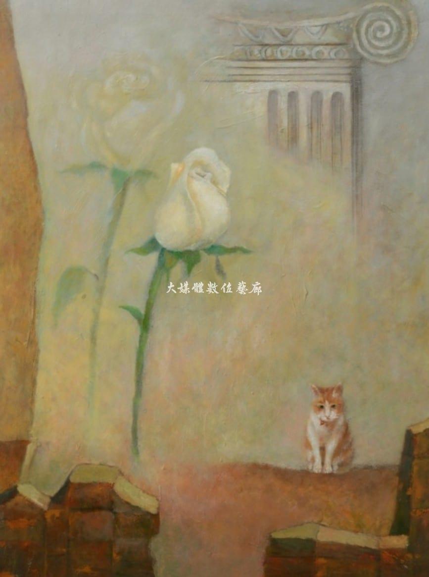 油畫 玫瑰與貓 65公分x51公分