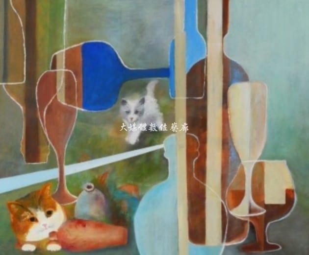 油畫 躱貓貓 15F