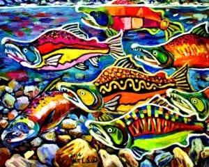 油畫 鮭魚洄游 72.5公分x91公分