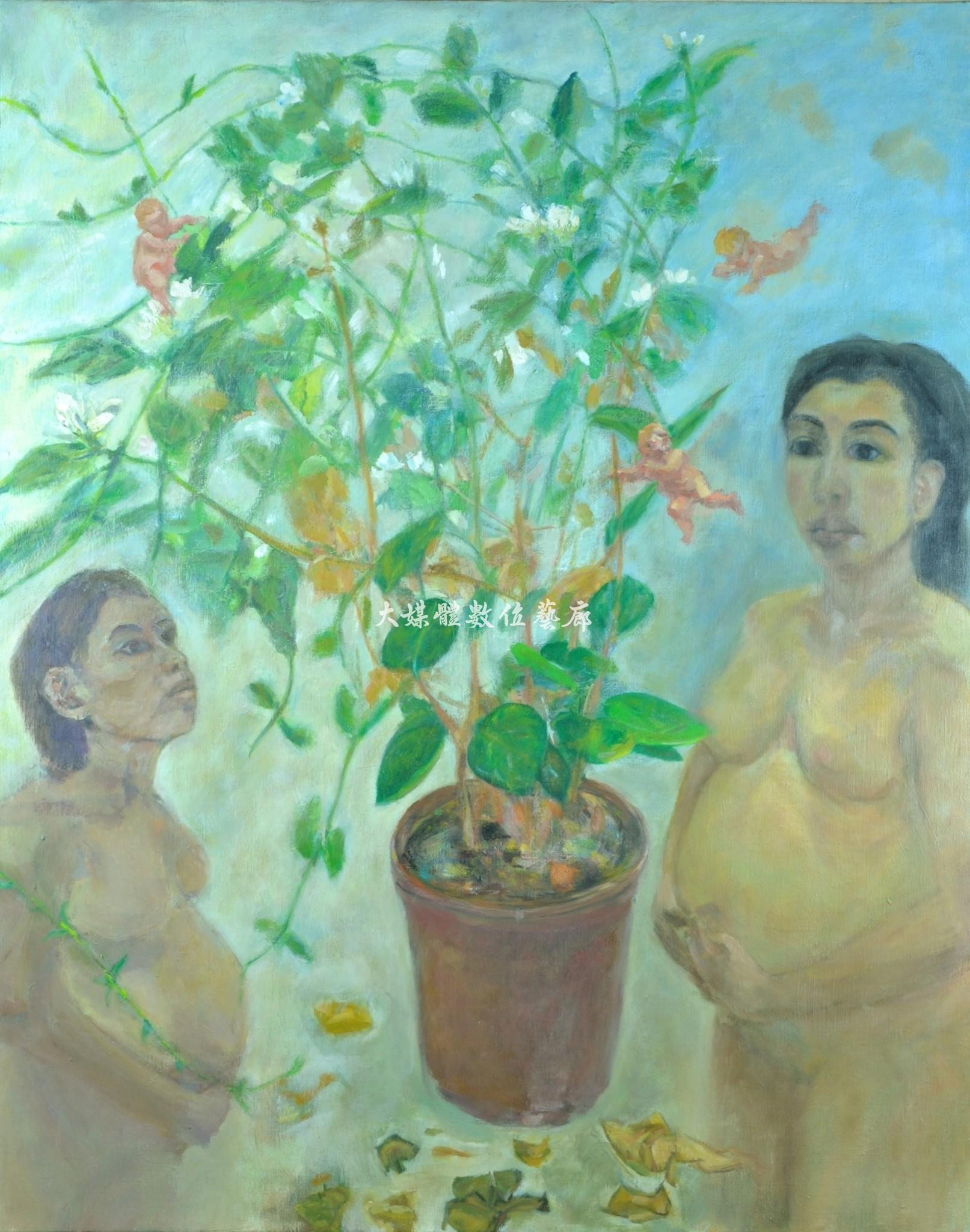 油畫 期待-與生命之花對話