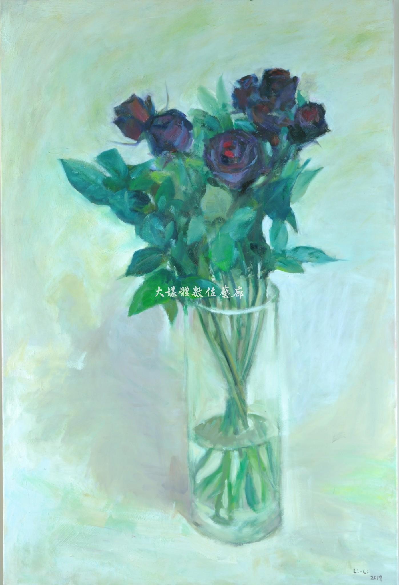 油畫 黑玫瑰-獨一無二的愛