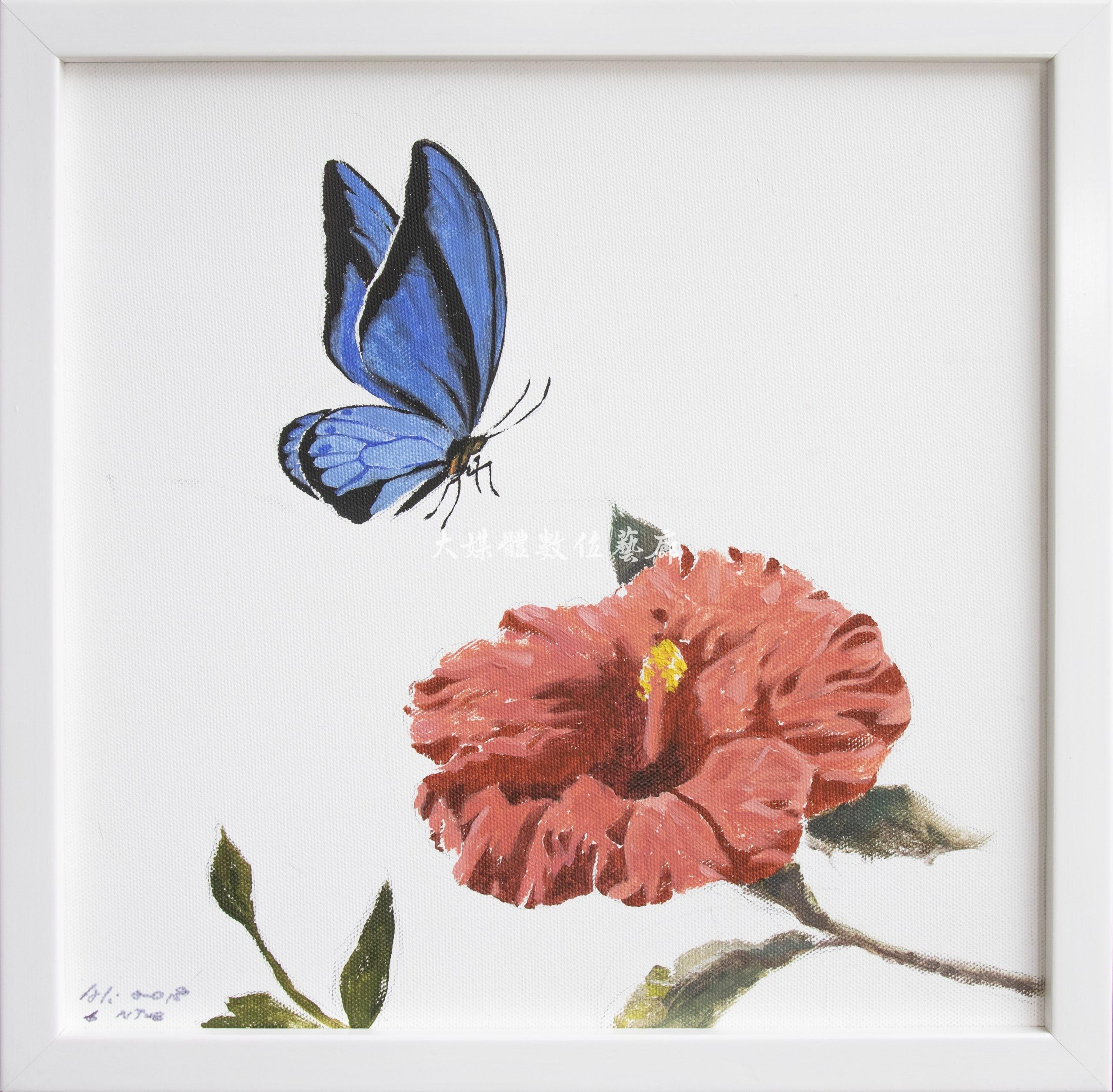 水彩畫 花與蝶-遊-1