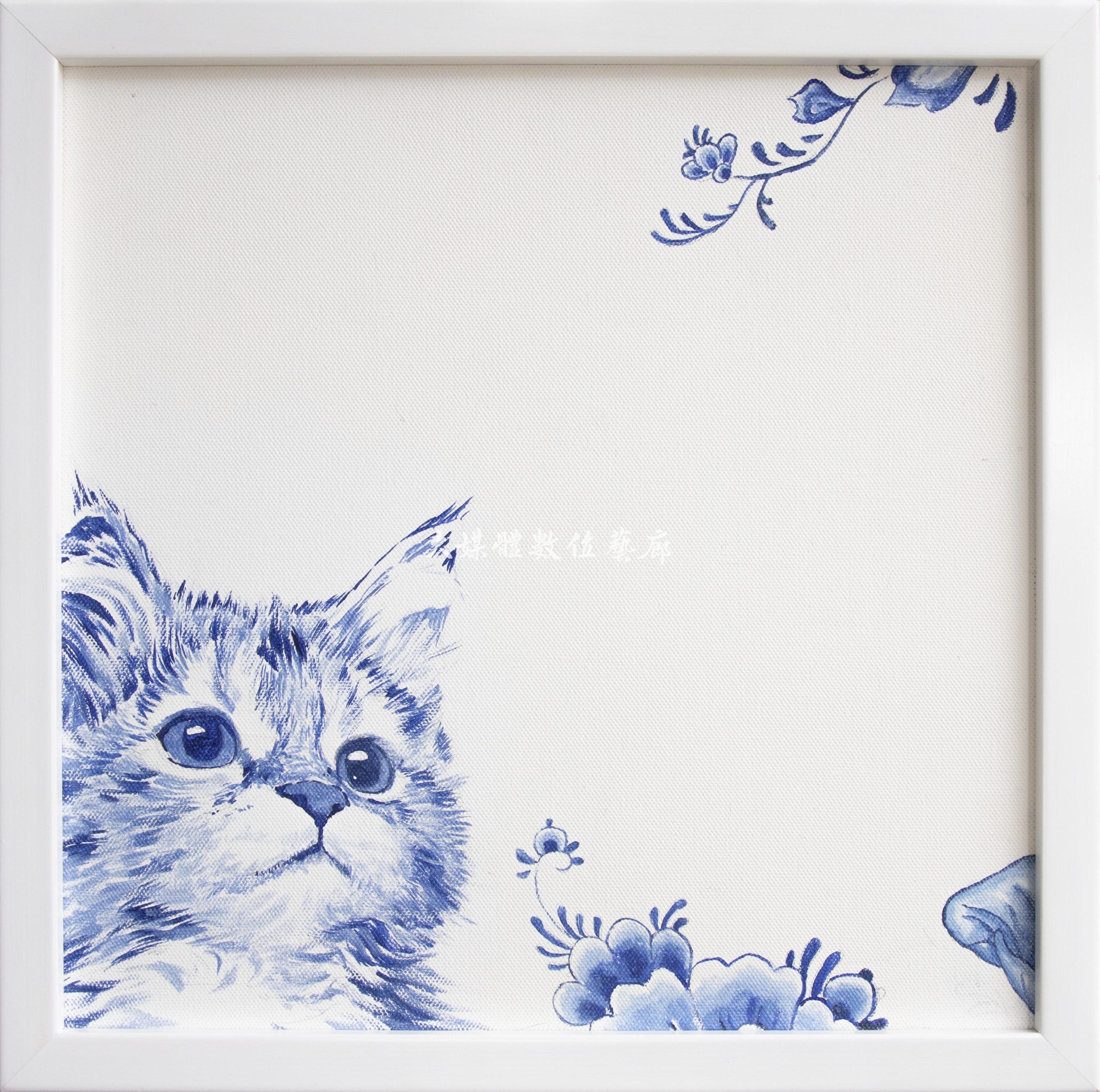 水彩畫 貓與鳥-望-1