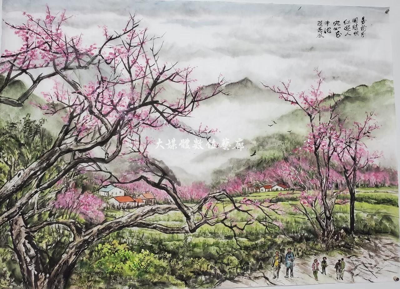 水墨畫 陳岳鳯 春風
