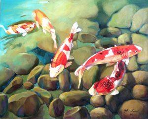油畫 日本庭院錦鯉魚池 Japanese Koi Fish Pond