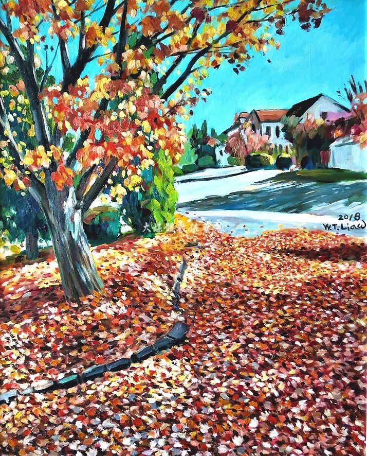 油畫 綺麗秋景 Scenic view in Fall