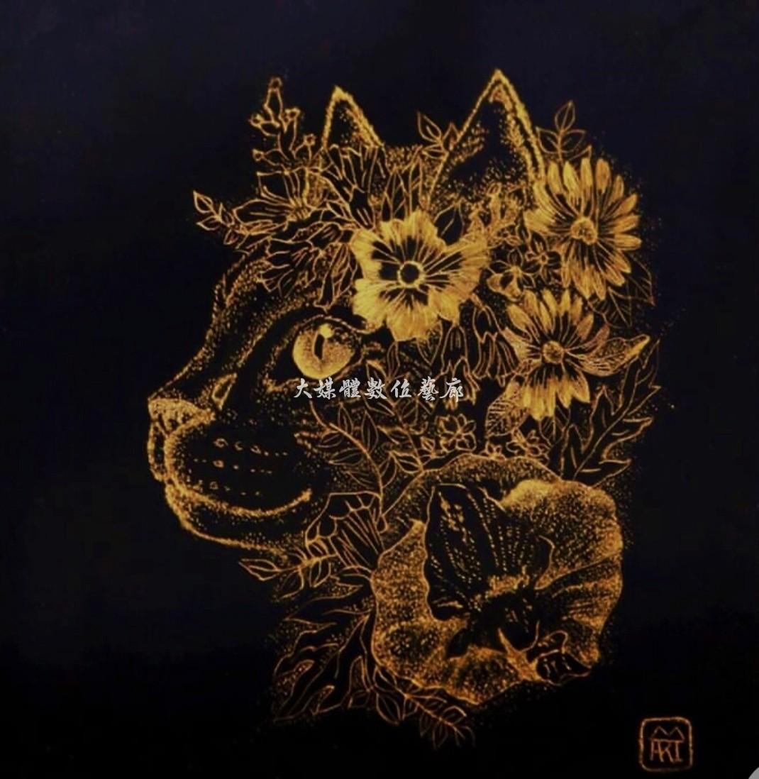 漆畫 貓與花的異想世界 24公分x27公分